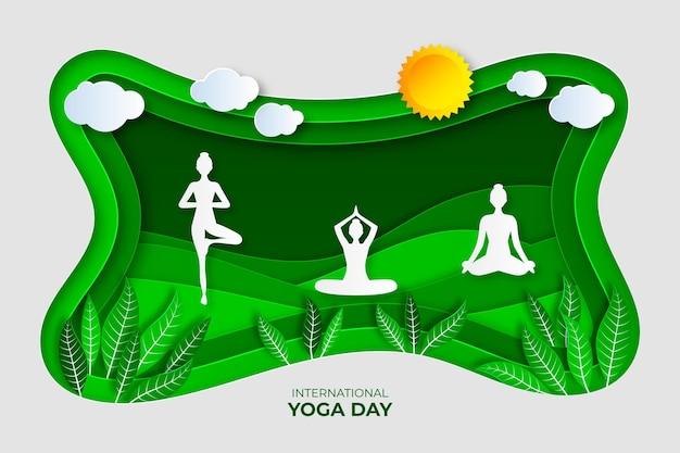 Персонажи йоги на свежем воздухе в бумажном стиле