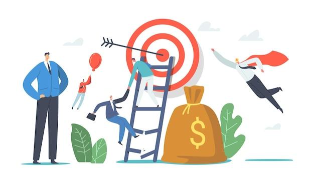キャラクターはビジネスの障害を克服します。ターゲットに到達するために壊れたはしごに登るビジネスマン、気球で飛ぶ。リーダーシップ、同僚の追跡、成功したリーダー。漫画の人々のベクトル図