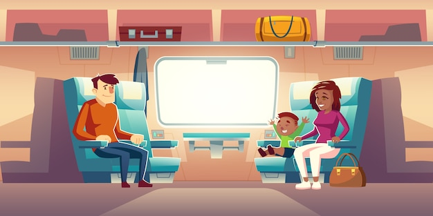 Characters passengers travel by railway car illustration