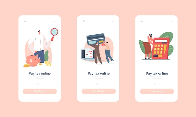 캐릭터 세금 납부 온라인 모바일 앱 페이지 온보드 화면 템플릿