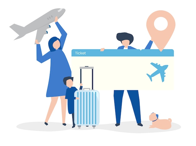 Characters of people holding travel icons illustration