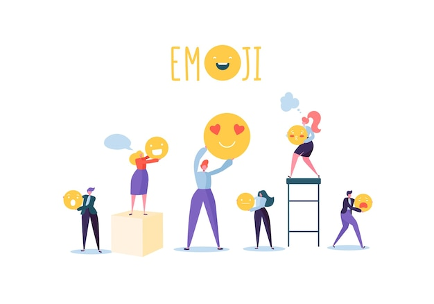 Characters people holding various emoticons. emoji and smiles communication concept with man and woman.