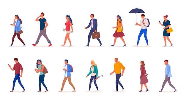 Characters of people walking down the street