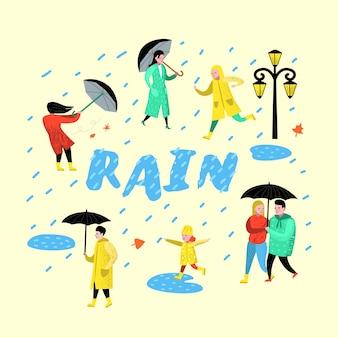 Персонажи люди, идущие под дождем