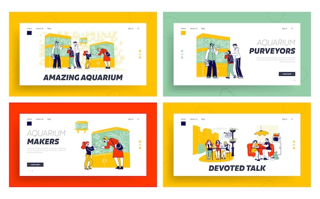 Characters in pet shop watching fish in aquarium, girlfriends meeting landing page template set.