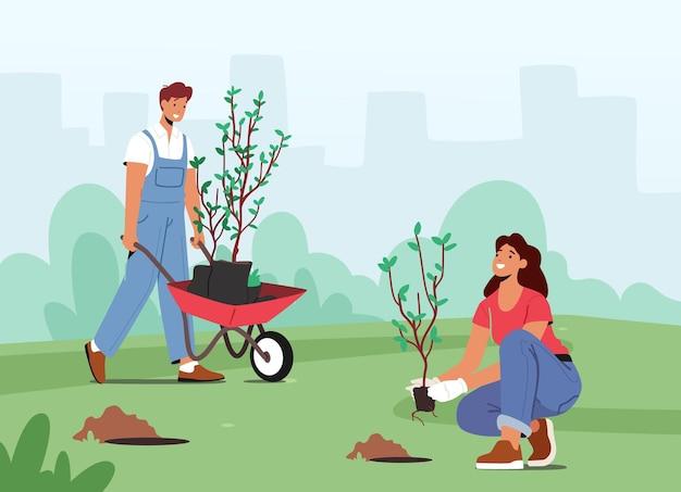 정원에서 묘목과 나무를 토양에 심는 캐릭터