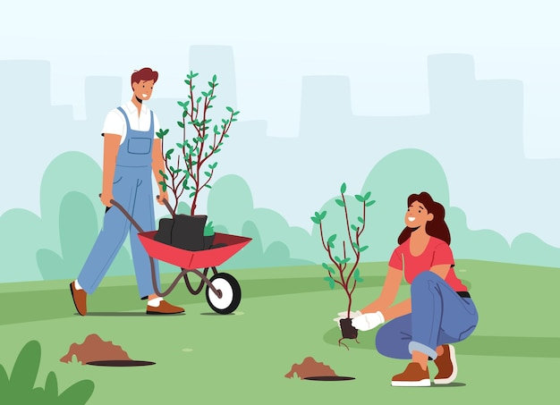 Characters planting seedlings and trees into soil in garden