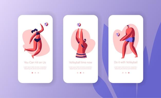 キャラクターがビーチモバイルアプリページのオンボード画面セットでバレーボールをプレイ