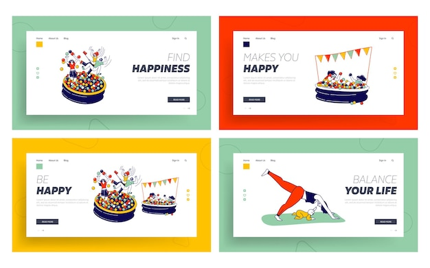 Characters playing in ball pool, yoga with baby landing page template set
