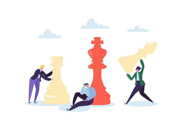 チェスをしているキャラクター。事業計画と戦略の概念。チェスの駒を持つビジネスマン。競争とリーダーシップ。
