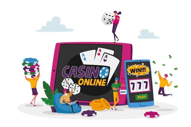 Characters playing gambling games in online casino win jackpot money prize on virtual slot machine and poker.