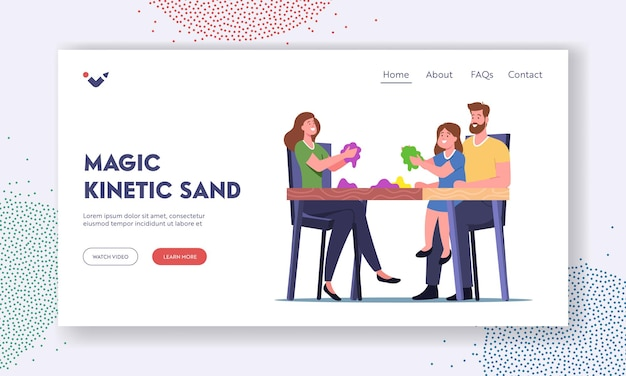 Characters playing with kinetic magic sand landing page template. mother, father and little daughter sitting at desk having fun, motor skills development, amusement. cartoon people vector illustration