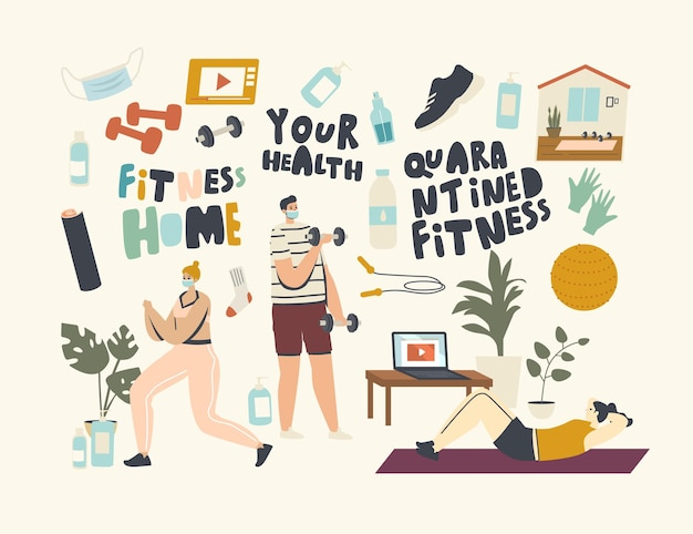 Characters practicing fitness, stretching at home during quarantine. men and women doing gymnastics exercises for healthy body at domestic interior. sports lifestyle. linear people vector illustration