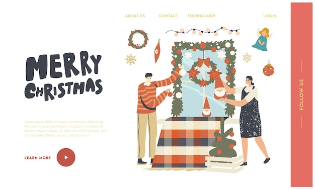 캐릭터는 새해와 크리스마스 겨울 시즌 휴일 축하 방문 페이지 템플릿을 준비합니다. 크리스마스 장식 화환, 공, 창 장식용 장난감을 거는 사람들. 선형 벡터 일러스트 레이 션