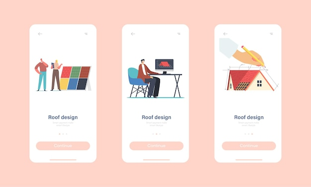Characters projecting roof design for cottage house mobile app page onboard screen template. graphic designer create 3d model of roof in program for client concept. cartoon people vector illustration