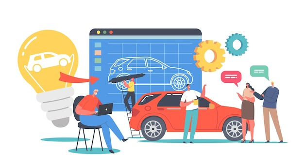 Characters prototyping car concept. engineer designer perform automobile prototype project, machinery industrial projecting industry, customers buying new auto. cartoon people vector illustration