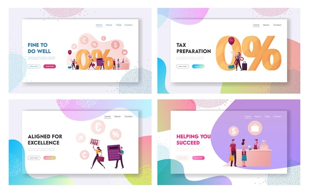 Characters purchasing in tax and duty free store landing page template set.