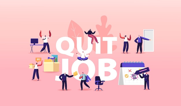 キャラクターが仕事を辞めるイラスト。従業員のドアを指している上司は、持ち物を箱に入れて運ぶ