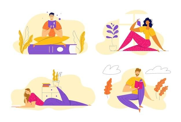 Персонажи читают книги. мужчина и женщина с книгой в домашнем интерьере. концепция исследования образования с учебником изучения людей.