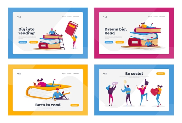 Characters reading hobby, social media communication landing page template set.