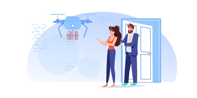 Персонажи получают покупки онлайн-заказов от дронов доставки