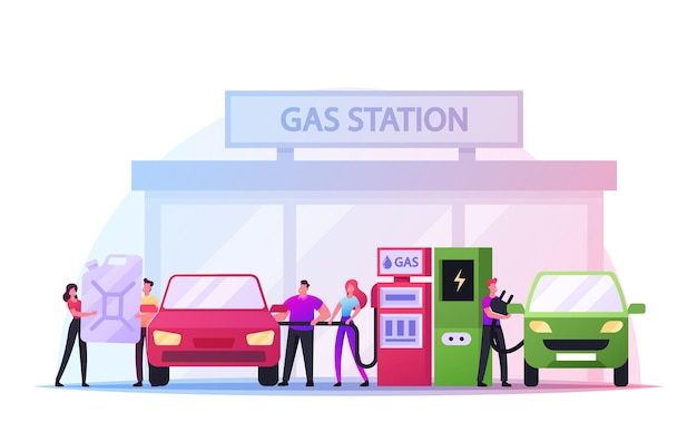 연료 역 개념에 차를 급유하는 캐릭터. 휘발유, 가솔린 오일을 펌핑하고 전기 자동차를 충전하는 남자. 차량 충전 서비스 가스 또는 바이오디젤을 탱크에 넣습니다. 만화 사람들 벡터 일러스트 레이 션