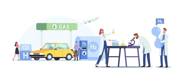 Персонажи заправляют автомобиль водородным топливом на концепции станции. человек качает бензин или газ для зарядки авто. автозаправка, зеленая энергия, биодизель. мультфильм люди векторные иллюстрации