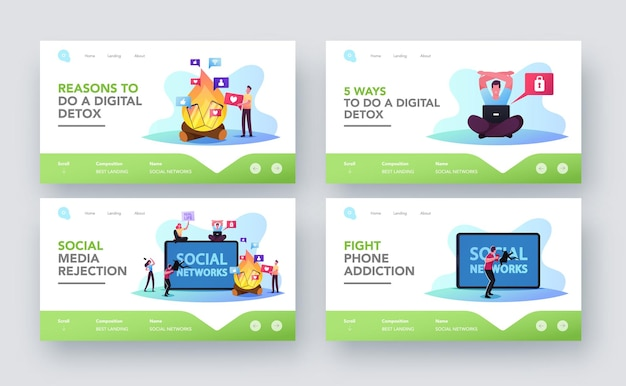 Characters rejection of gadgets landing page template set. internet and social networks digital deto. people refuse phone and online addiction, spending free time offline. cartoon vector illustration