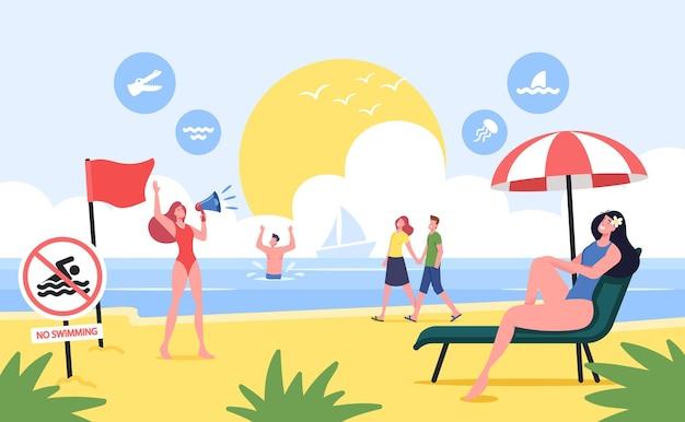 해변에 빨간색 경고 깃발이 달린 바다 해안선에서 휴식을 취하는 캐릭터. 수영 금지, 관광객 주의. 바다 경치 보기에서 여름 시간 휴가에 사람들. 만화 벡터 일러스트 레이 션