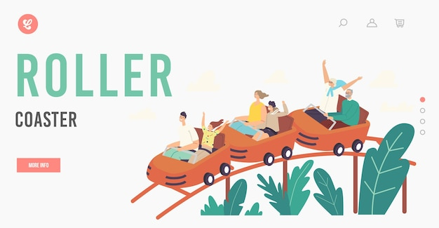 Characters riding roller coaster in amusement park landing page template. excited men, women and kids at rollercoaster. weekend recreation, extreme, family leisure. cartoon people vector illustration
