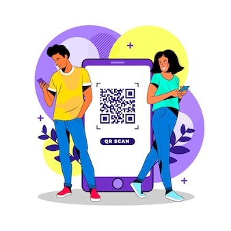 Characters scanning qr codes on their phones
