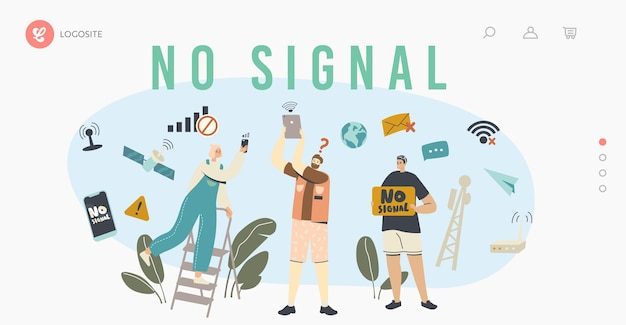 Characters search signal of wifi router landing page template. network error, lost internet wireless connection. modern technology, free wi-fi hotspot service. cartoon people vector illustration