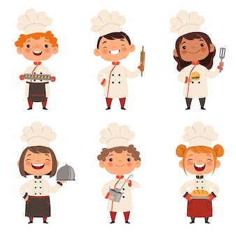 Characters set of children cooks