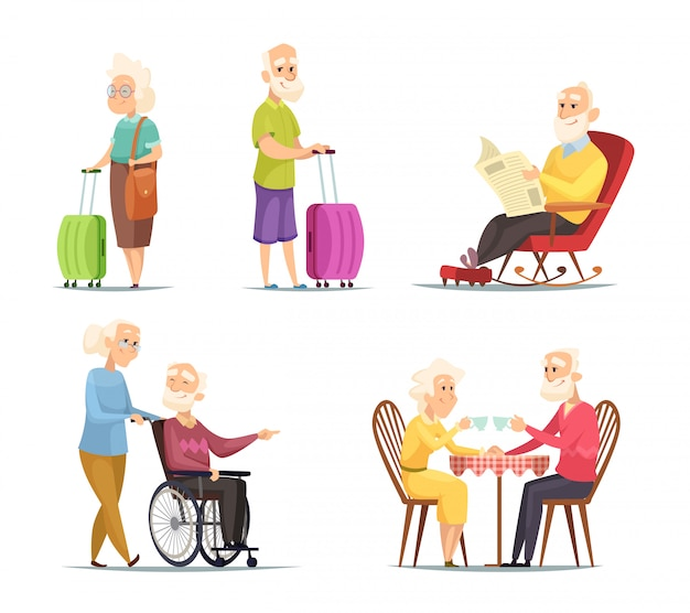 Characters set of elderly peoples