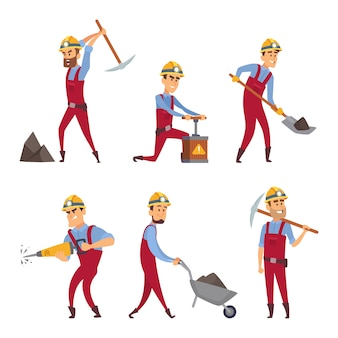 Characters set of miners. cartoon characters