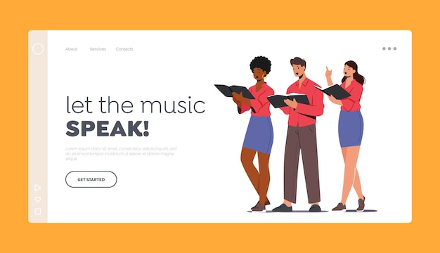 Characters singing in chorus landing page template. singers choir amusement event. young men and women with singing books perform musical composition on scene. cartoon people vector illustration