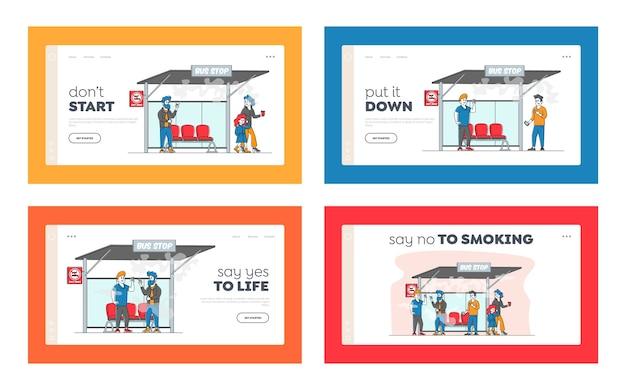 Персонажи курят возле запрещенного знака на автобусной остановке с людьми вокруг