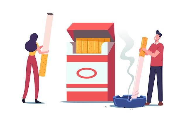 Characters smoking addiction and bad unhealthy habit illustration