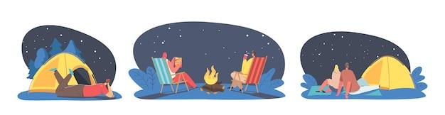 キャラクターはキャンプ、アクティブなスペアタイムの概念で夜を屋外で過ごします。キャンプファイヤーのテントで野外で過ごしたり、寝椅子でリラックスしたり、夏のアクティビティを楽しんだりする人々。漫画のベクトル図
