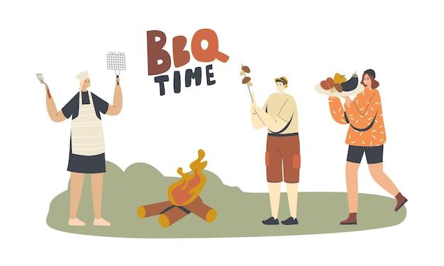 캐릭터는 야외에서 바베큐 시간을 보냅니다. 가족이나 친구가 여름 시간에 앞마당이나 공원 지역에서 요리, 야채, 버섯, 소시지 또는 고기를 먹고 있습니다. 선형 사람들 벡터 일러스트 레이 션