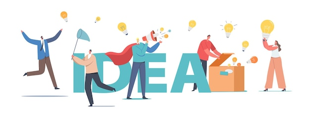 Characters spread knowledge, ideas concept. man in red cloak with loudspeaker, people with lightbulbs, open box with lamps, people catch bulbs with net poster banner flyer. cartoon vector illustration