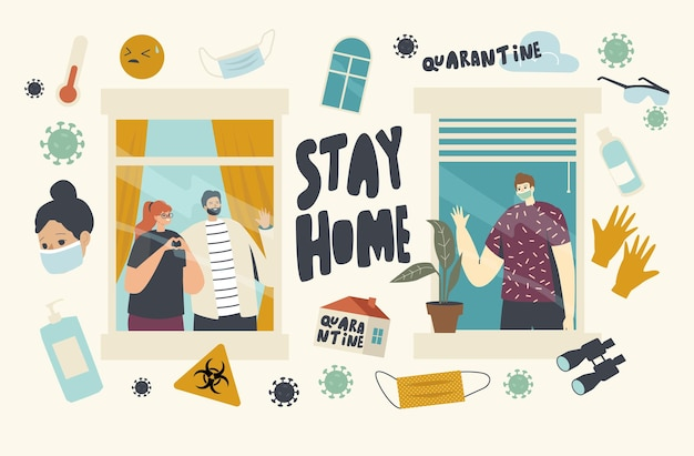 Characters stay home during coronavirus pandemic isolation. neighbors in apartments communicate through windows spend time at house. people relaxing and spend time. linear people vector illustration