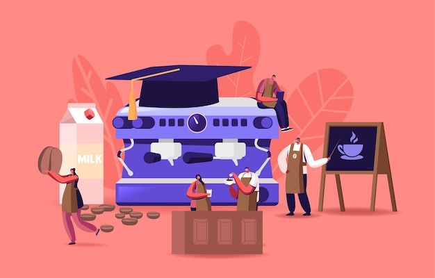 바리스타 학교의 캐릭터 연구, 커피 양조 개념. 거대한 커피 머신에서 앞치마를 입은 작은 바리스타가 맛있는 카푸치노 에스프레소 아메리카노 음료를 요리하는 법을 배웁니다. 만화 사람들 벡터 일러스트 레이 션