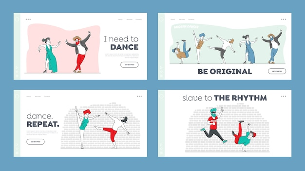 Characters in stylish costumes dance modern dances landing page template set