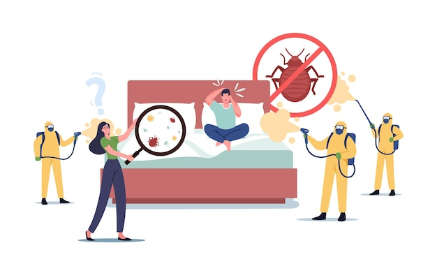 Characters suffering of bed bugs attack, call to professional pest control service. exterminators in hazmat suits spraying toxic liquid for disinsection room. cartoon people vector illustration