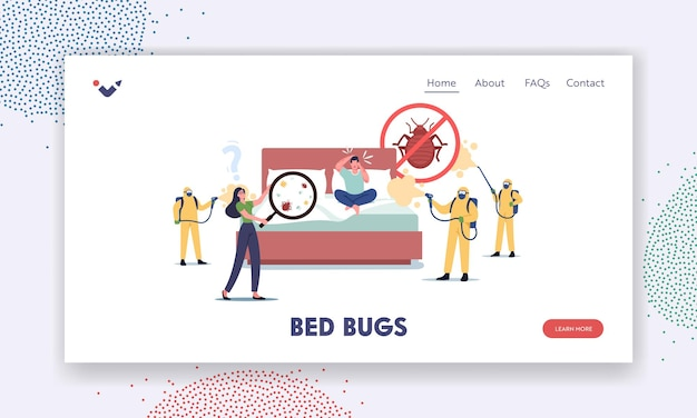 Characters suffering of bed bugs landing page template. professional pest control service exterminators in hazmat suits spraying toxic liquid for disinsection room. cartoon people vector illustration