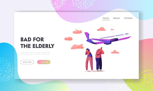 Characters suffering of noise pollution landing page template.