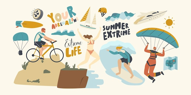 Characters summer extreme sport activity surfing, paragliding, mountain biking, jumping from edge. sports people relax, summertime vacation, leisure sport xtreme recreation. linear vector illustration