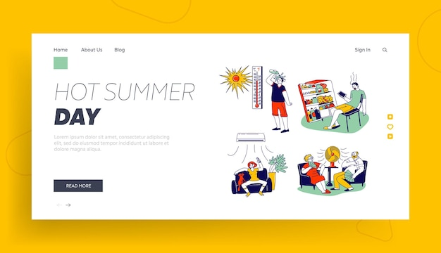 Characters in summer time hot period landing page template.
