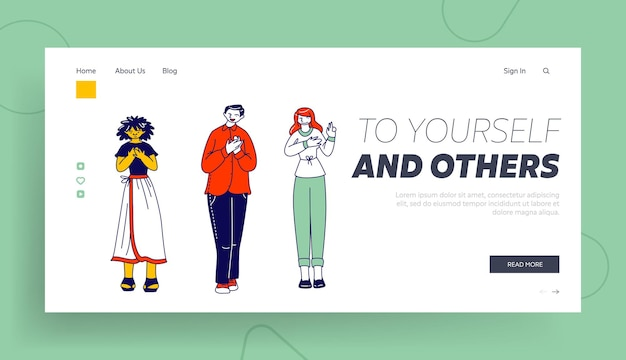Characters telling truth, swear in fairness and probity landing page template.